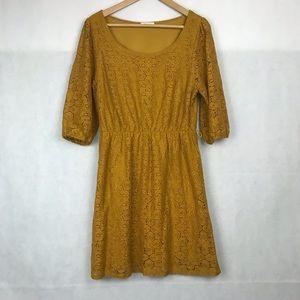 EVERLY Mustard Laced w/ 3/4 sleeve Midi Dress sz L